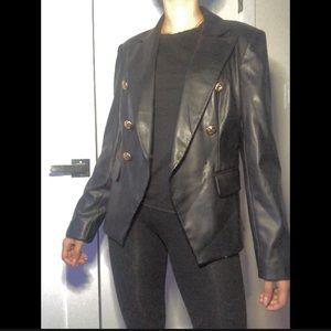 Vakko INC leather blazer jacket